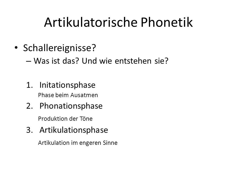 Artikulatorische Phonetik Schallereignisse? – Was ist das? Und wie entstehen sie? 1.Initationsphase Phase beim Ausatmen 2.Phonationsphase Produktion d