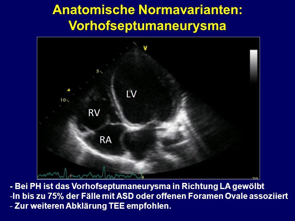 Anatomische Normavarianten: Vorhofseptumaneurysma - Bei PH ist das Vorhofseptumaneurysma in Richtung LA gewölbt -In bis zu 75% der Fälle mit ASD oder offenen Foramen Ovale assoziiert - Zur weiteren Abklärung TEE empfohlen.