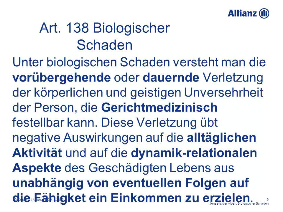© Copyright Allianz 01-02/11/200710 Jenseits der Alpen: Biologischer Schaden Biologisscher Schaden: SYMPTOME DER EXISTENZ Minderung der psychophysischen Effizienz, d.h.