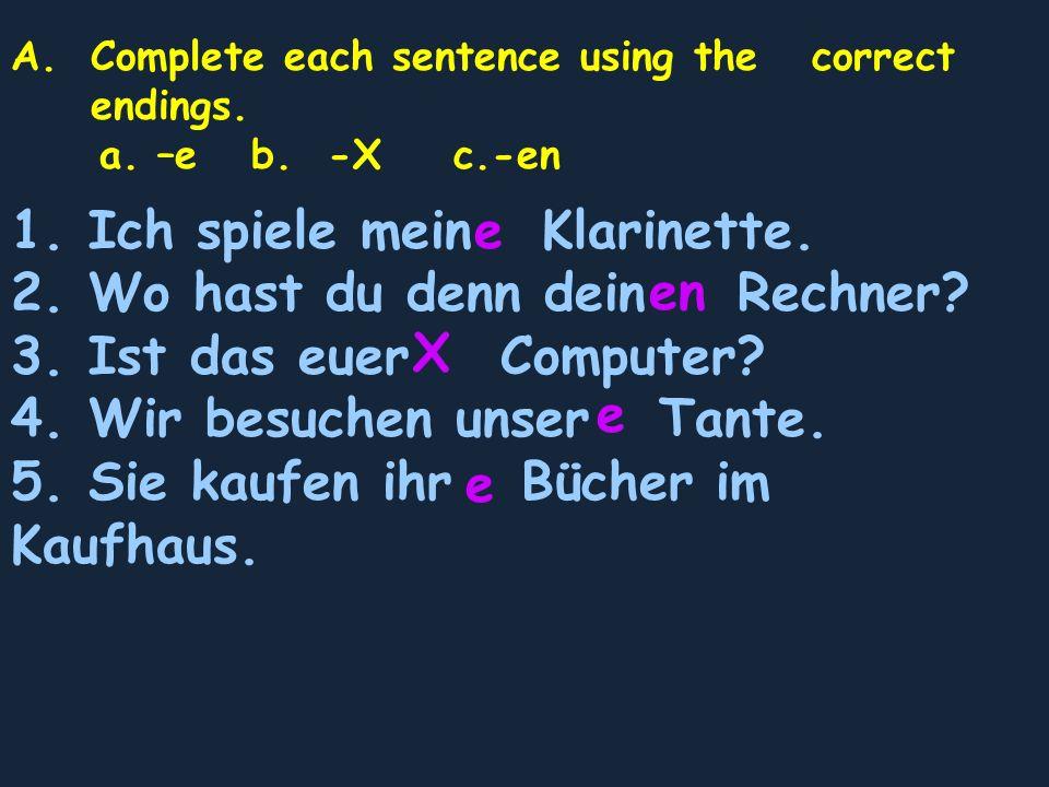 A.Complete each sentence using the correct endings. a. –e b. -X c.-en 1. Ich spiele mein Klarinette. 2. Wo hast du denn dein Rechner? 3. Ist das euer