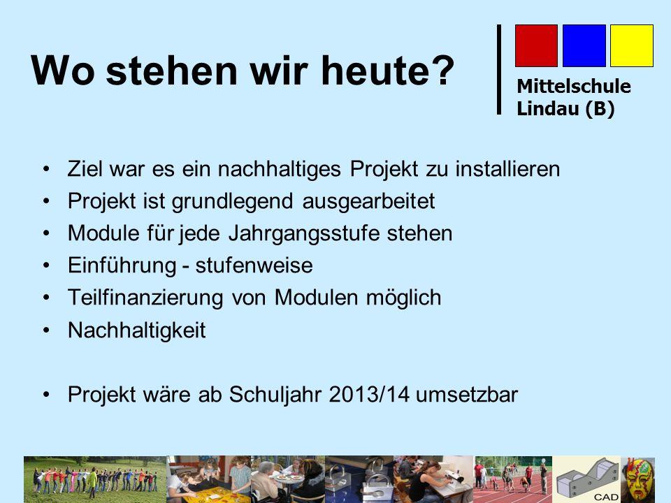 Mittelschule Lindau (B) Wo stehen wir heute? Ziel war es ein nachhaltiges Projekt zu installieren Projekt ist grundlegend ausgearbeitet Module für jed