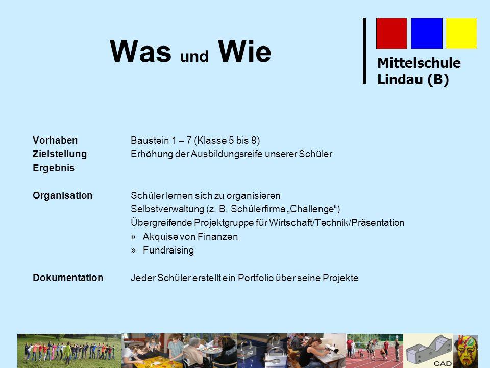 Mittelschule Lindau (B) Was und Wie VorhabenBaustein 1 – 7 (Klasse 5 bis 8) Zielstellung Erhöhung der Ausbildungsreife unserer Schüler Ergebnis Organi