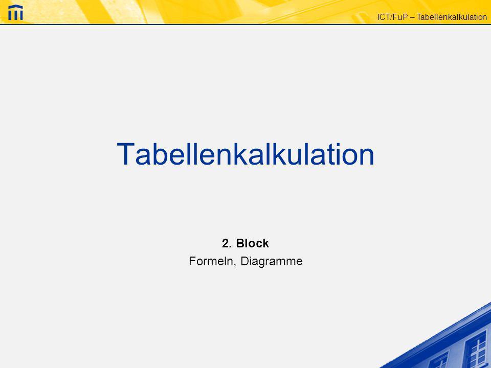 ICT/FuP – Tabellenkalkulation Tabellenkalkulation 2. Block Formeln, Diagramme