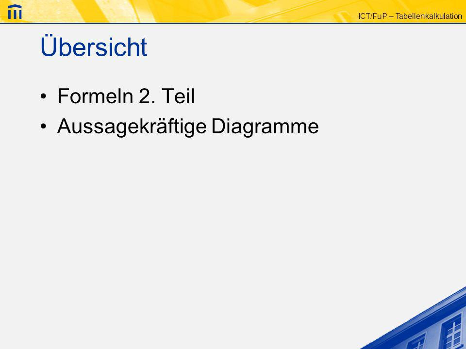 ICT/FuP – Tabellenkalkulation Übersicht Formeln 2. Teil Aussagekräftige Diagramme