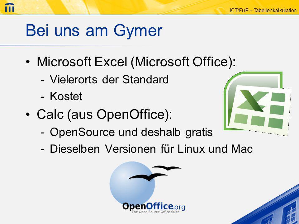 ICT/FuP – Tabellenkalkulation Bei uns am Gymer Microsoft Excel (Microsoft Office): -Vielerorts der Standard -Kostet Calc (aus OpenOffice): -OpenSource