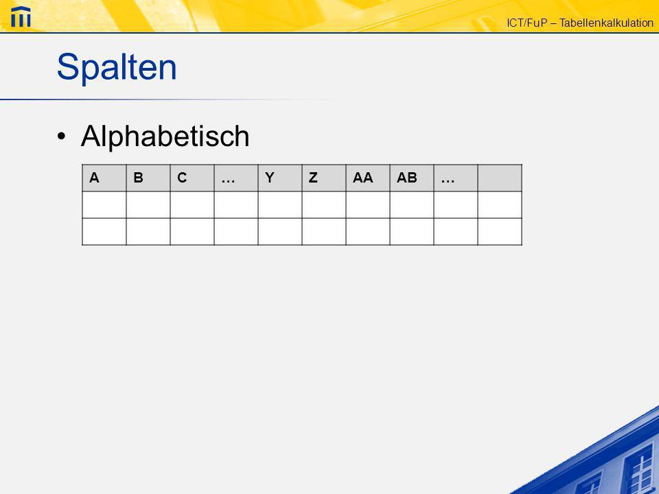ICT/FuP – Tabellenkalkulation Spalten Alphabetisch ABC…YZAAAB…