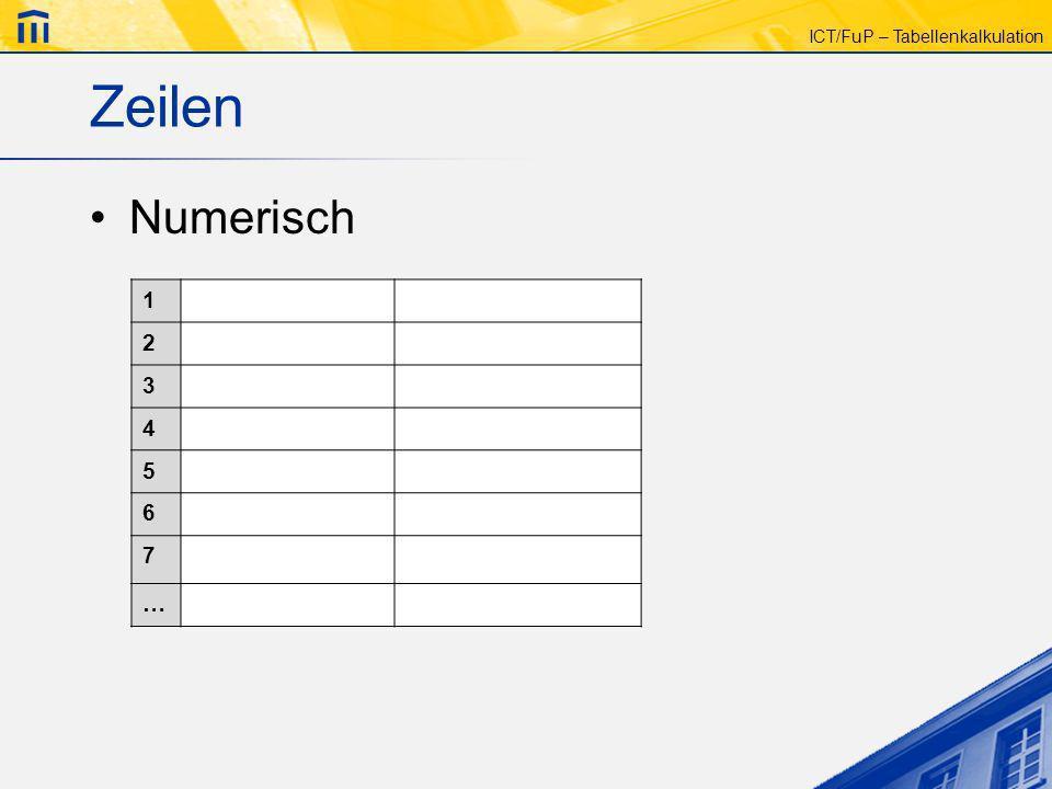 ICT/FuP – Tabellenkalkulation Zeilen Numerisch 1 2 3 4 5 6 7 …
