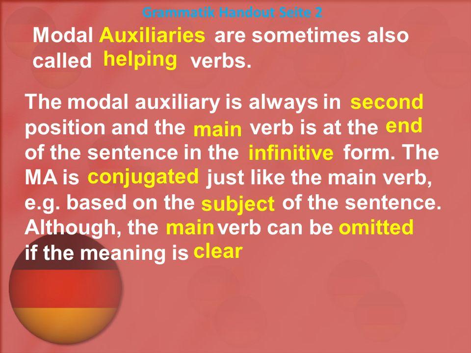 must / have to - du er sie kann wir ihr sie Sie müssen es st en en t en ich Because of their unique conjugation we can also call them _______________ or __________ verbs.