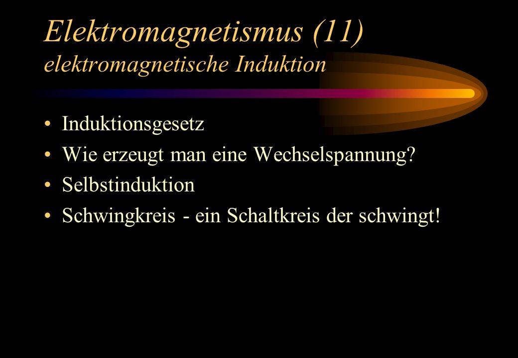 Elektromagnetismus (11) elektromagnetische Induktion Induktionsgesetz Wie erzeugt man eine Wechselspannung? Selbstinduktion Schwingkreis - ein Schaltk