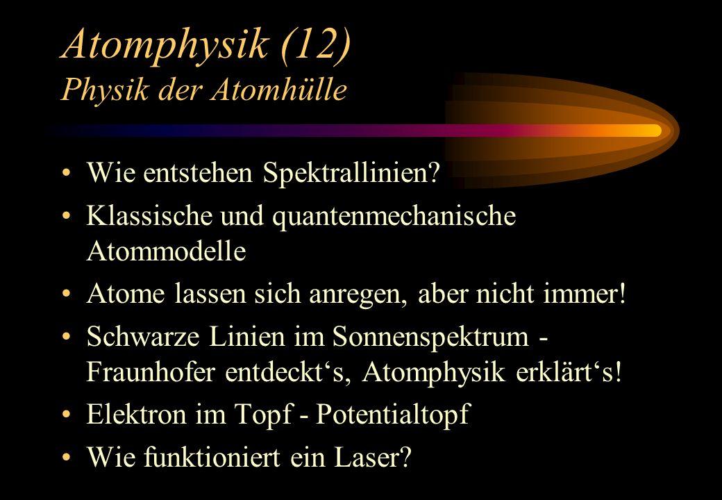 Atomphysik (12) Physik der Atomhülle Wie entstehen Spektrallinien? Klassische und quantenmechanische Atommodelle Atome lassen sich anregen, aber nicht