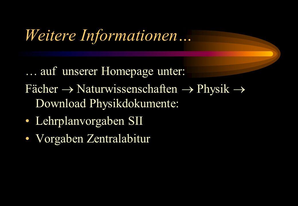 Weitere Informationen… … auf unserer Homepage unter: Fächer Naturwissenschaften Physik Download Physikdokumente: Lehrplanvorgaben SII Vorgaben Zentral