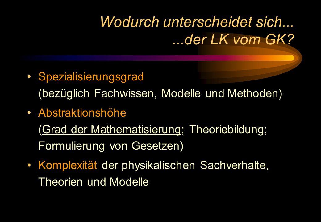 Wodurch unterscheidet sich......der LK vom GK? Spezialisierungsgrad (bezüglich Fachwissen, Modelle und Methoden) Abstraktionshöhe (Grad der Mathematis