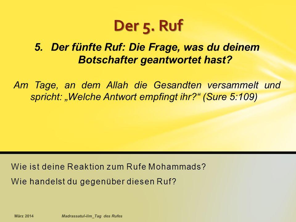 Wie ist deine Reaktion zum Rufe Mohammads.Wie handelst du gegenüber diesen Ruf.