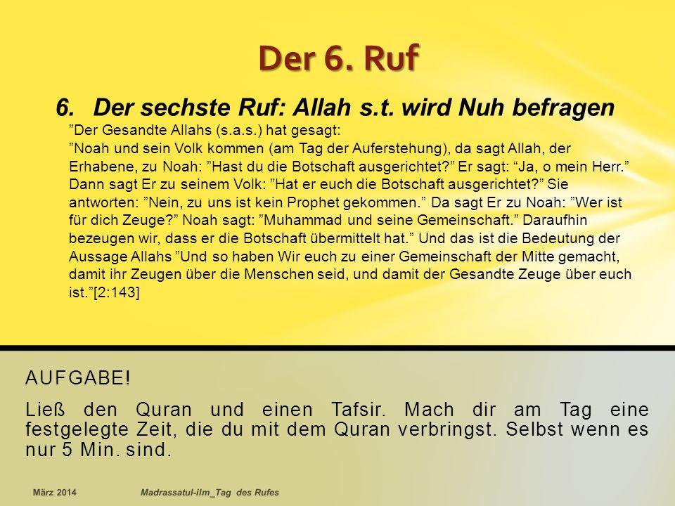 AUFGABE.Ließ den Quran und einen Tafsir.