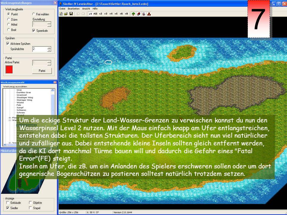 Um die eckige Struktur der Land-Wasser-Grenzen zu verwischen kannst du nun den Wasserpinsel Level 2 nutzen. Mit der Maus einfach knapp am Ufer entlang