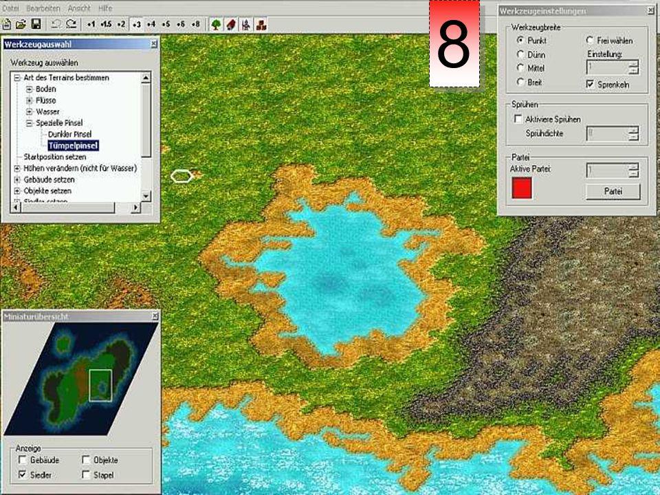 Um weitere Blickpunkte zu setzen, kann man Binnenwasserflächen auch mit dem Tümpelpinsel überstreichen.