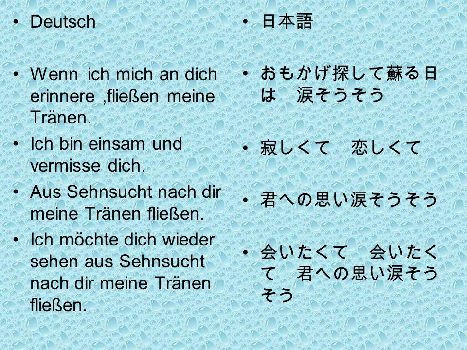 Deutsch Wenn ich mich an dich erinnere,fließen meine Tränen.