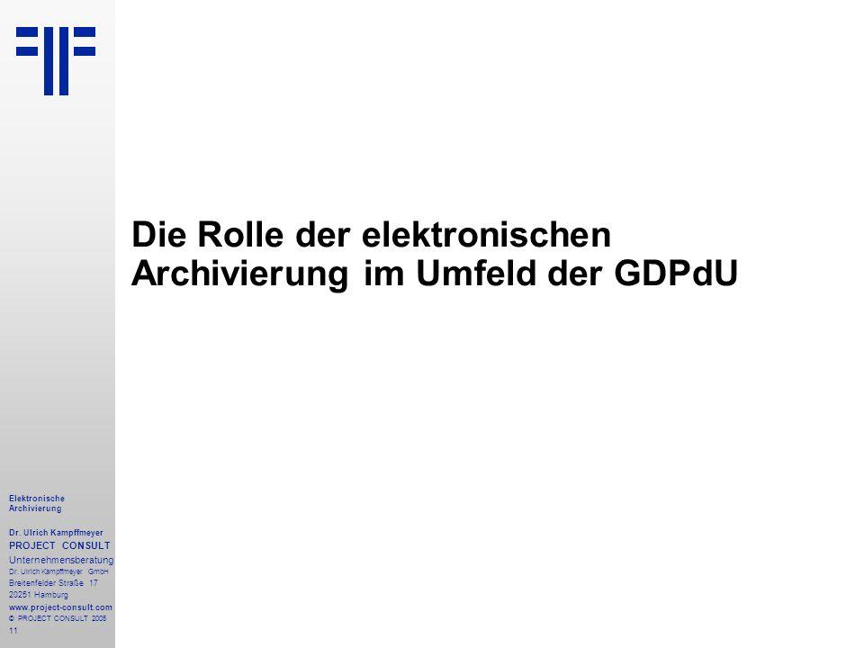 11 Elektronische Archivierung Dr. Ulrich Kampffmeyer PROJECT CONSULT Unternehmensberatung Dr. Ulrich Kampffmeyer GmbH Breitenfelder Straße 17 20251 Ha