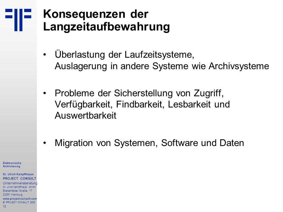 12 Elektronische Archivierung Dr. Ulrich Kampffmeyer PROJECT CONSULT Unternehmensberatung Dr. Ulrich Kampffmeyer GmbH Breitenfelder Straße 17 20251 Ha