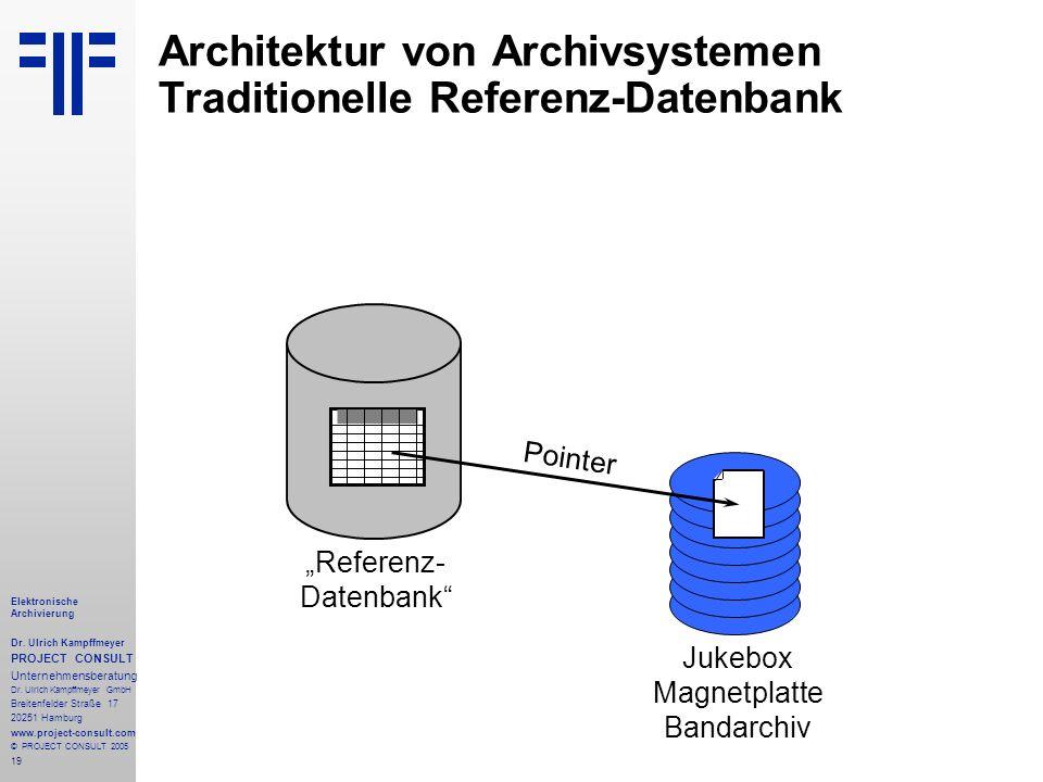 19 Elektronische Archivierung Dr. Ulrich Kampffmeyer PROJECT CONSULT Unternehmensberatung Dr. Ulrich Kampffmeyer GmbH Breitenfelder Straße 17 20251 Ha