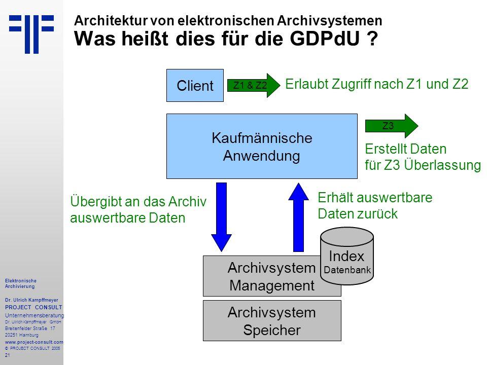 21 Elektronische Archivierung Dr. Ulrich Kampffmeyer PROJECT CONSULT Unternehmensberatung Dr. Ulrich Kampffmeyer GmbH Breitenfelder Straße 17 20251 Ha