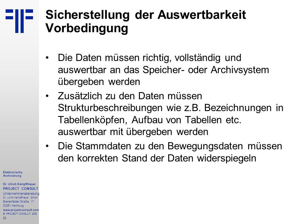 23 Elektronische Archivierung Dr. Ulrich Kampffmeyer PROJECT CONSULT Unternehmensberatung Dr. Ulrich Kampffmeyer GmbH Breitenfelder Straße 17 20251 Ha