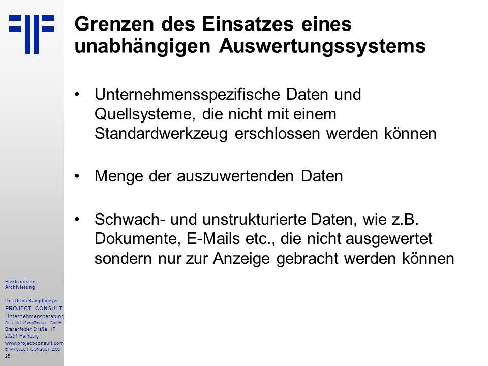 25 Elektronische Archivierung Dr. Ulrich Kampffmeyer PROJECT CONSULT Unternehmensberatung Dr. Ulrich Kampffmeyer GmbH Breitenfelder Straße 17 20251 Ha