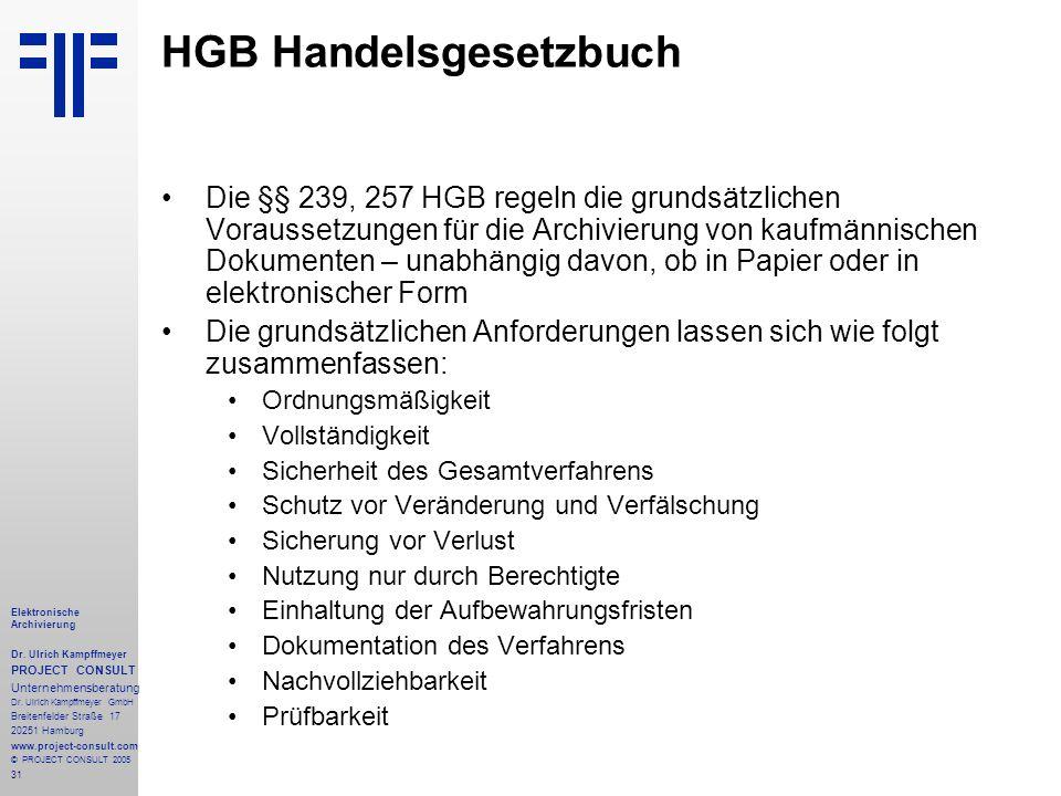 31 Elektronische Archivierung Dr. Ulrich Kampffmeyer PROJECT CONSULT Unternehmensberatung Dr. Ulrich Kampffmeyer GmbH Breitenfelder Straße 17 20251 Ha