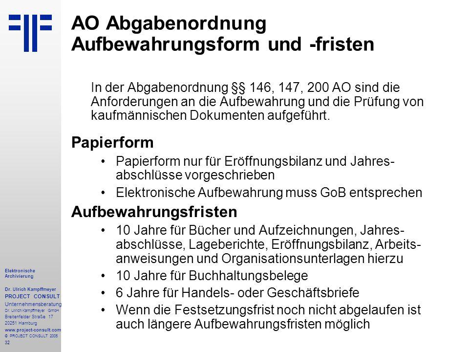 32 Elektronische Archivierung Dr. Ulrich Kampffmeyer PROJECT CONSULT Unternehmensberatung Dr. Ulrich Kampffmeyer GmbH Breitenfelder Straße 17 20251 Ha