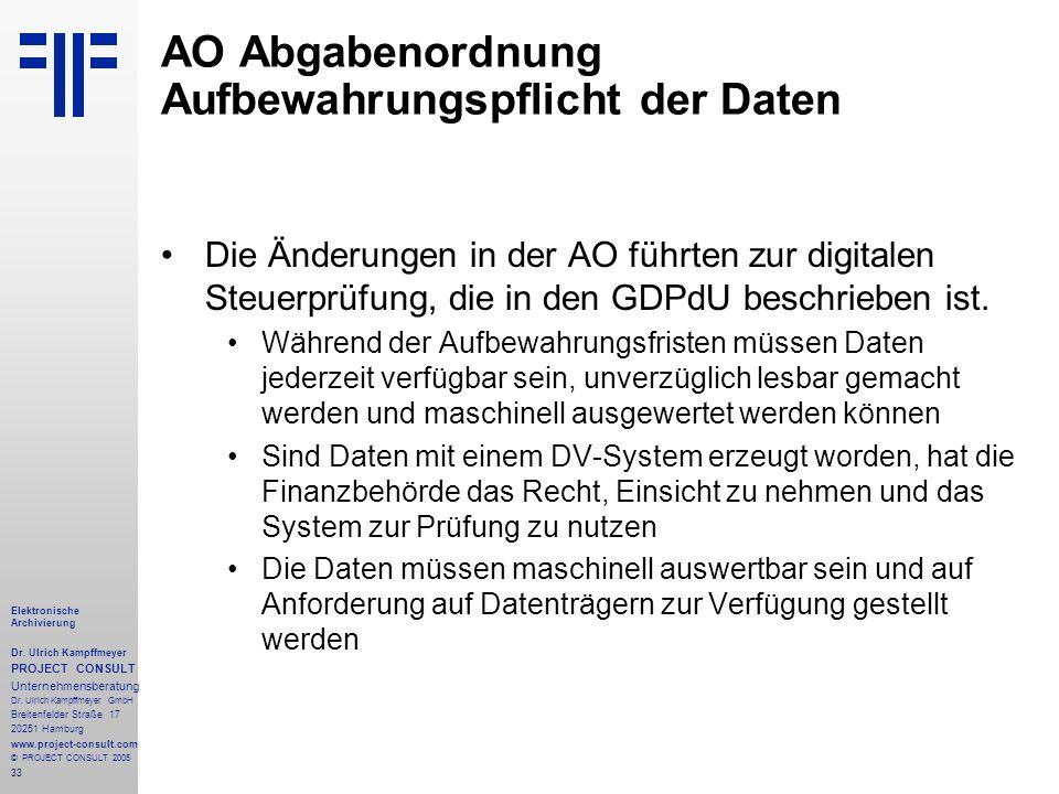 33 Elektronische Archivierung Dr. Ulrich Kampffmeyer PROJECT CONSULT Unternehmensberatung Dr. Ulrich Kampffmeyer GmbH Breitenfelder Straße 17 20251 Ha