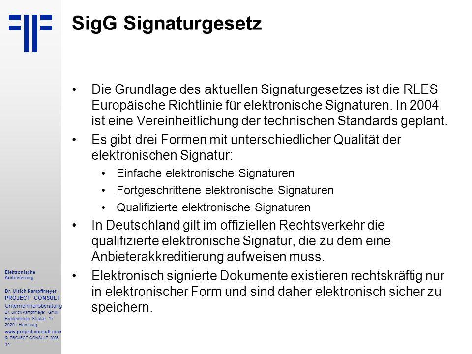 34 Elektronische Archivierung Dr. Ulrich Kampffmeyer PROJECT CONSULT Unternehmensberatung Dr. Ulrich Kampffmeyer GmbH Breitenfelder Straße 17 20251 Ha