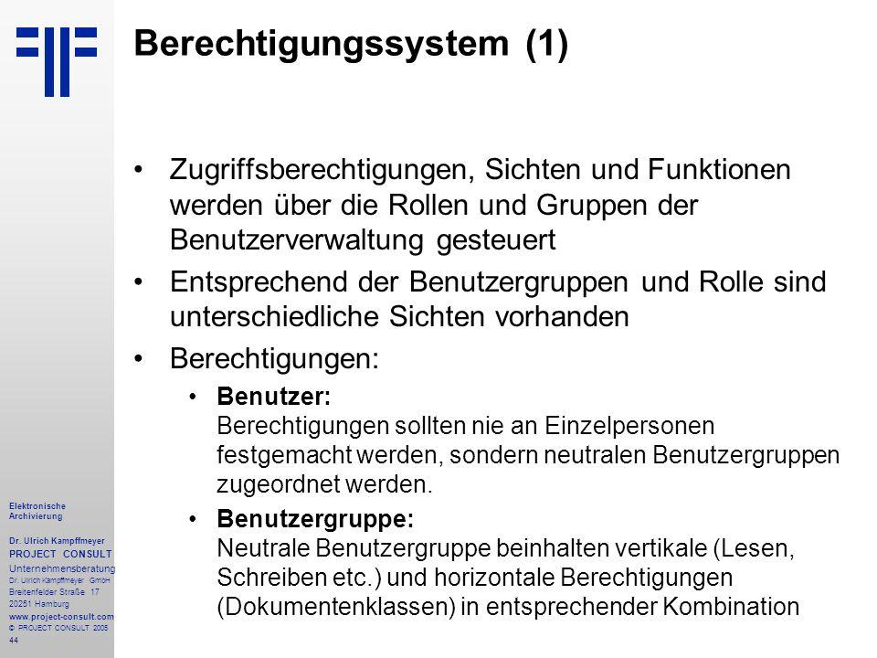 44 Elektronische Archivierung Dr. Ulrich Kampffmeyer PROJECT CONSULT Unternehmensberatung Dr. Ulrich Kampffmeyer GmbH Breitenfelder Straße 17 20251 Ha