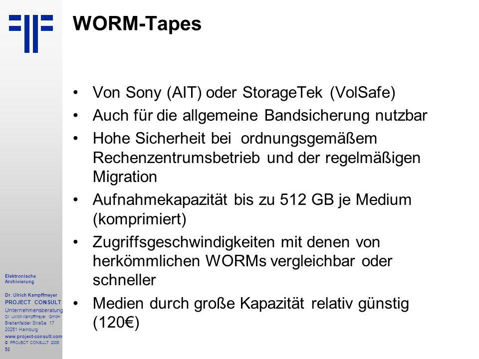 58 Elektronische Archivierung Dr.Ulrich Kampffmeyer PROJECT CONSULT Unternehmensberatung Dr.