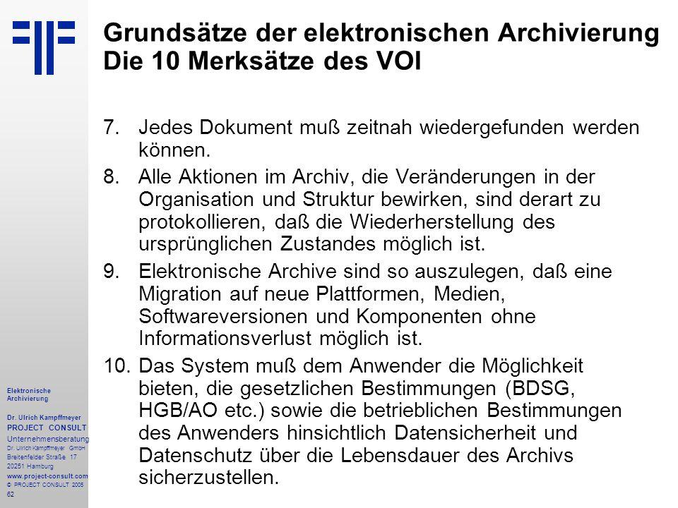 62 Elektronische Archivierung Dr. Ulrich Kampffmeyer PROJECT CONSULT Unternehmensberatung Dr. Ulrich Kampffmeyer GmbH Breitenfelder Straße 17 20251 Ha