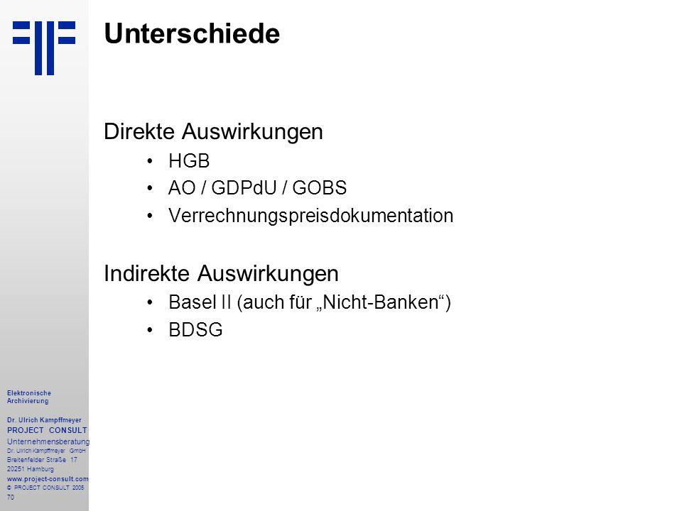 70 Elektronische Archivierung Dr. Ulrich Kampffmeyer PROJECT CONSULT Unternehmensberatung Dr. Ulrich Kampffmeyer GmbH Breitenfelder Straße 17 20251 Ha