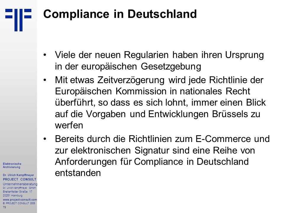79 Elektronische Archivierung Dr. Ulrich Kampffmeyer PROJECT CONSULT Unternehmensberatung Dr. Ulrich Kampffmeyer GmbH Breitenfelder Straße 17 20251 Ha