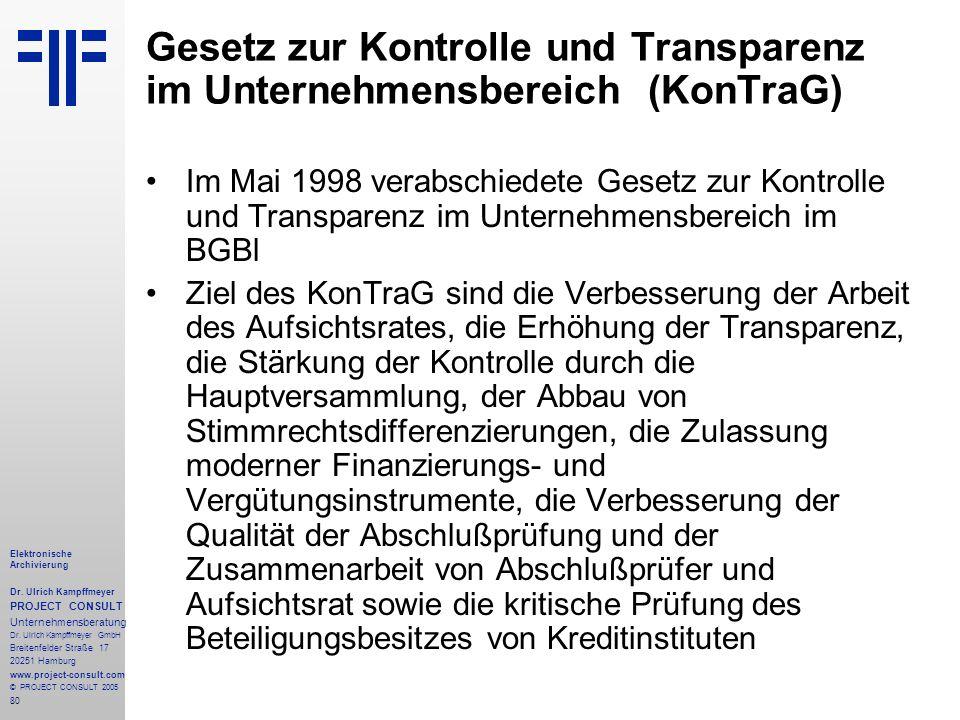 80 Elektronische Archivierung Dr. Ulrich Kampffmeyer PROJECT CONSULT Unternehmensberatung Dr. Ulrich Kampffmeyer GmbH Breitenfelder Straße 17 20251 Ha