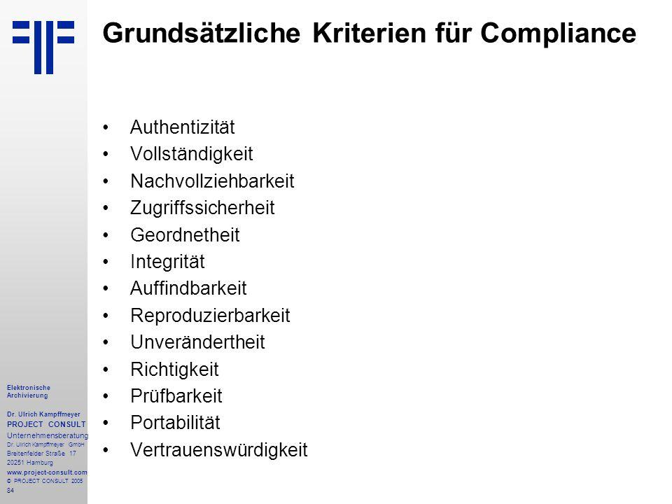 84 Elektronische Archivierung Dr. Ulrich Kampffmeyer PROJECT CONSULT Unternehmensberatung Dr. Ulrich Kampffmeyer GmbH Breitenfelder Straße 17 20251 Ha