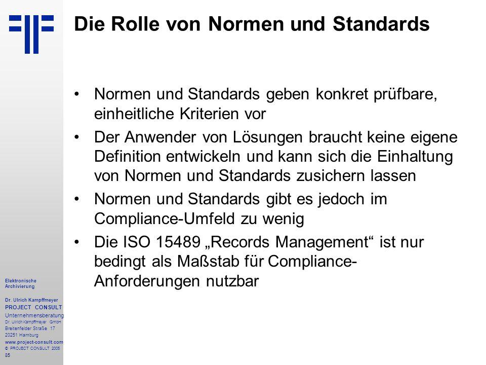 85 Elektronische Archivierung Dr.Ulrich Kampffmeyer PROJECT CONSULT Unternehmensberatung Dr.