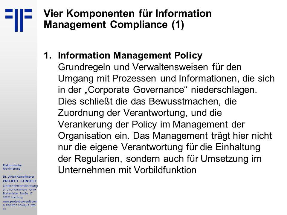 89 Elektronische Archivierung Dr. Ulrich Kampffmeyer PROJECT CONSULT Unternehmensberatung Dr. Ulrich Kampffmeyer GmbH Breitenfelder Straße 17 20251 Ha