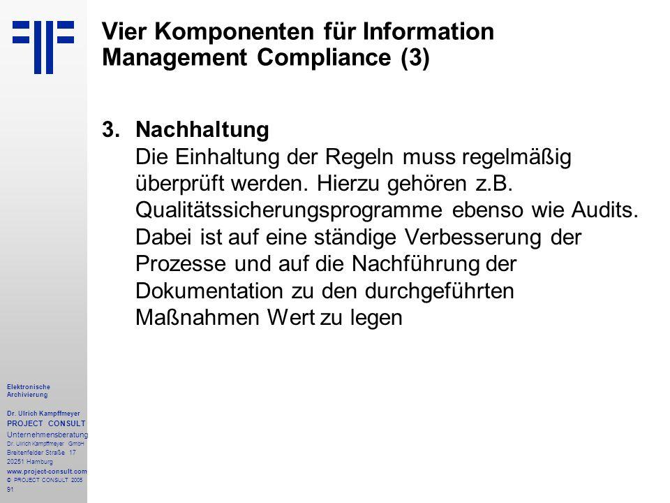 91 Elektronische Archivierung Dr. Ulrich Kampffmeyer PROJECT CONSULT Unternehmensberatung Dr. Ulrich Kampffmeyer GmbH Breitenfelder Straße 17 20251 Ha