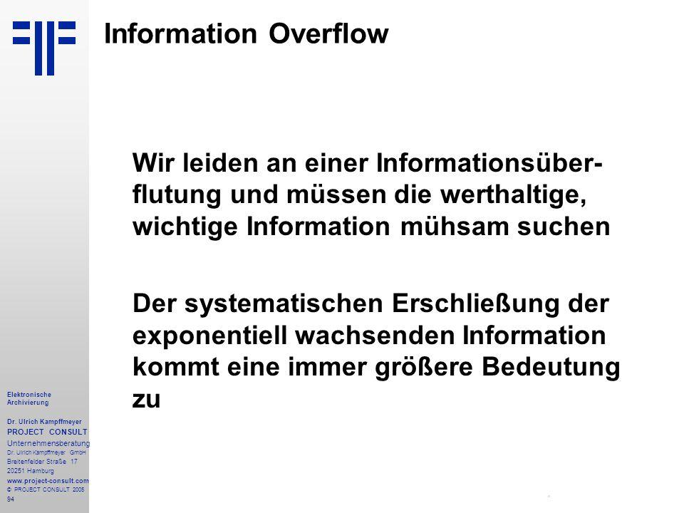 94 Elektronische Archivierung Dr. Ulrich Kampffmeyer PROJECT CONSULT Unternehmensberatung Dr. Ulrich Kampffmeyer GmbH Breitenfelder Straße 17 20251 Ha