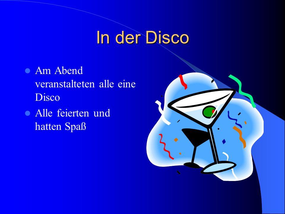 In der Disco Am Abend veranstalteten alle eine Disco Alle feierten und hatten Spaß
