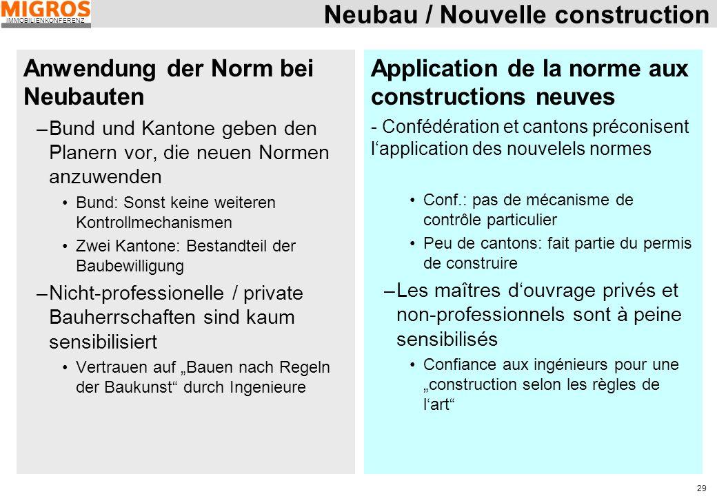 IMMOBILIENKONFERENZ 29 Neubau / Nouvelle construction Anwendung der Norm bei Neubauten –Bund und Kantone geben den Planern vor, die neuen Normen anzuw