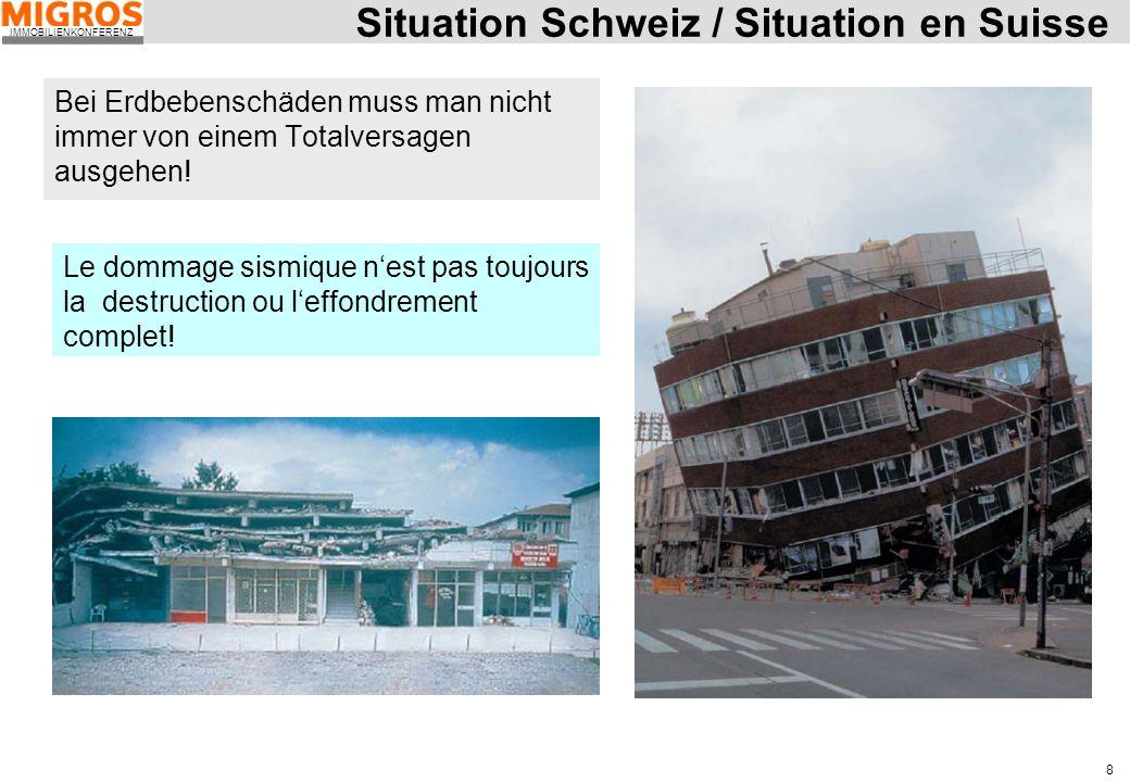 IMMOBILIENKONFERENZ 8 Situation Schweiz / Situation en Suisse Bei Erdbebenschäden muss man nicht immer von einem Totalversagen ausgehen! Le dommage si