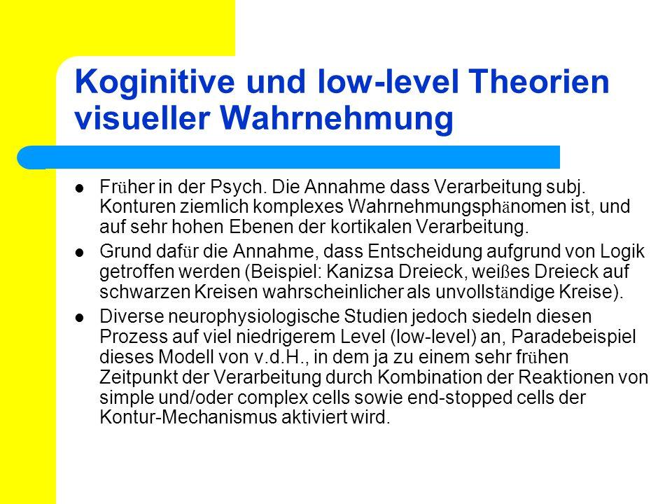 Koginitive und low-level Theorien visueller Wahrnehmung Fr ü her in der Psych. Die Annahme dass Verarbeitung subj. Konturen ziemlich komplexes Wahrneh