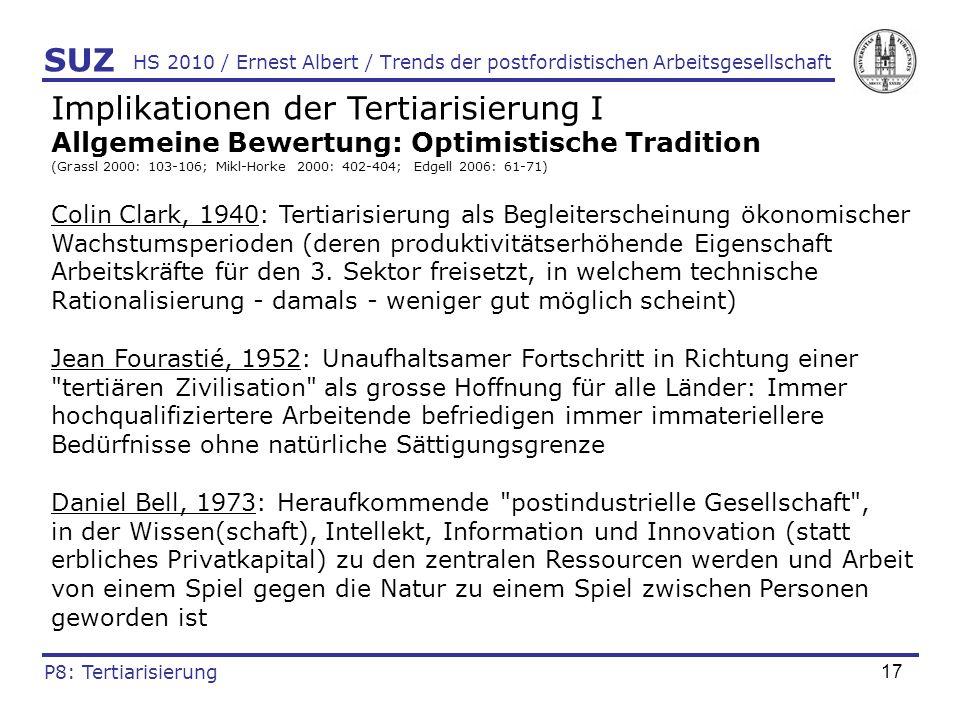 18 HS 2010 / Ernest Albert / Trends der postfordistischen Arbeitsgesellschaft Implikationen der Tertiarisierung II Allgemeine Bewertung: Skeptische Tradition (Littek 1991: 275-276; Dostal 2001: 67; Mikl-Horke 2000: 405) Ökonom.
