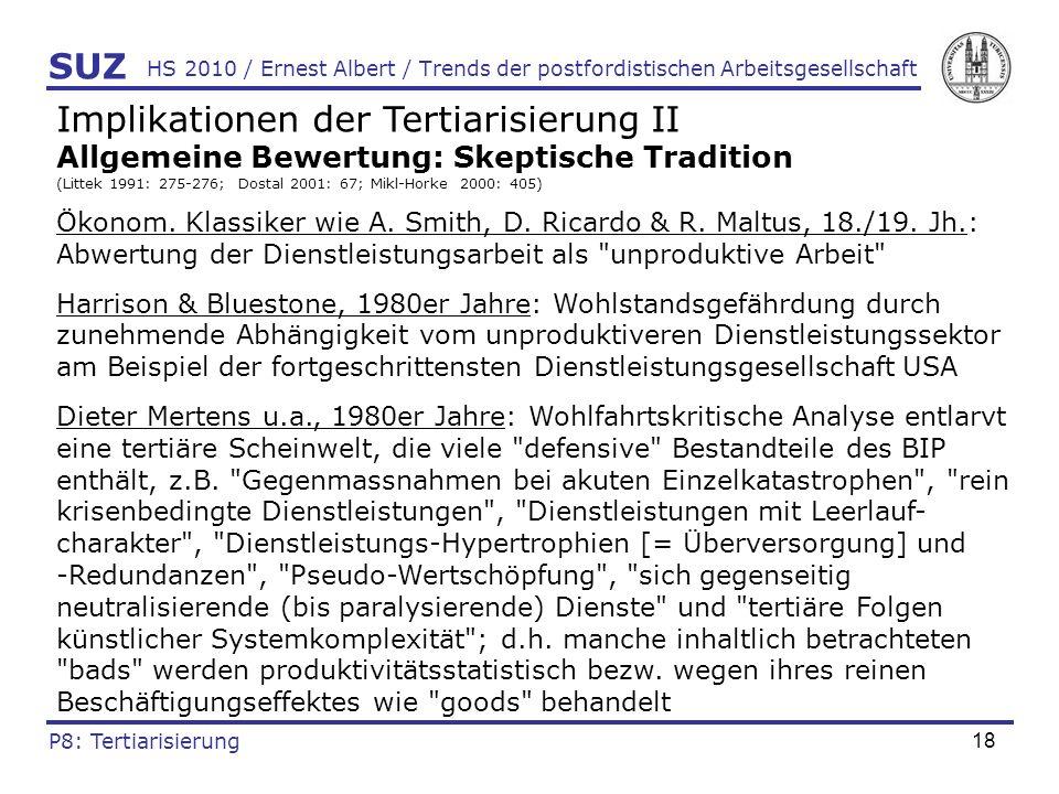 19 HS 2010 / Ernest Albert / Trends der postfordistischen Arbeitsgesellschaft Implikationen der Tertiarisierung III Beschäftigungspotenzial: Theoretische Kontroverse (Littek 1991; Rifkin 2007: 130-133; Mikl-Horke 2000: 404-407) Optimistische Position: Dritter Sektor absorbiert rationalisierungsbedingt freigesetzte Arbeitnehmer der übrigen Sektoren praktisch unbegrenzt und ist selbst kaum durch technische Rationalisierung bedroht (da viele DL nur von Menschen für Menschen erbracht werden können) Skeptische Position: Durchindustrialisierungsthese: Logik des Kapitals strebt danach, DL durch rentablere Waren (i.d.R.