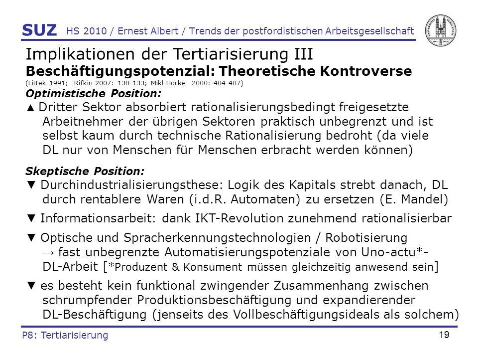 20 HS 2010 / Ernest Albert / Trends der postfordistischen Arbeitsgesellschaft Implikationen der Tertiarisierung IV Qualifikationsbedarf: Theoretische Kontroverse (Baethge 2001: 23, 39; Caporaso 1987: 205; Edgell 2006: 48-72) Upskilling-These (z.B.