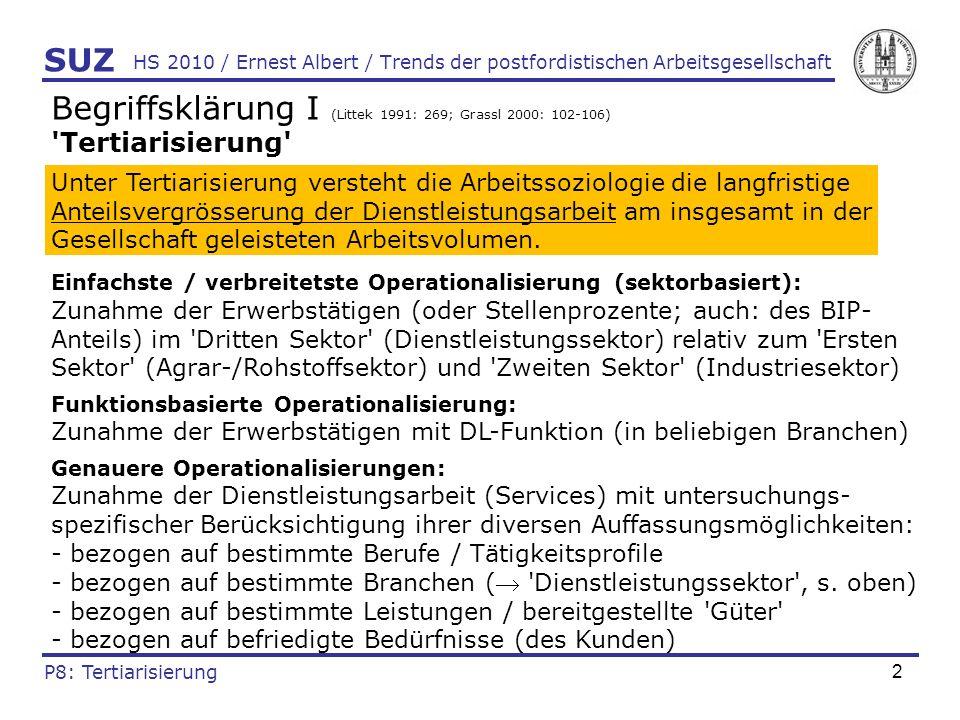3 HS 2010 / Ernest Albert / Trends der postfordistischen Arbeitsgesellschaft Begriffsklärung II (vgl.